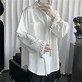 KAL'ANWEI Harajuku Pure Blanche Pure Manche De Chemise des Femmes Femmes pour Les Femmes Hommes Japonaise High School Shirt Loose Couple Couple Streetwear Chemise-Blanche_XL