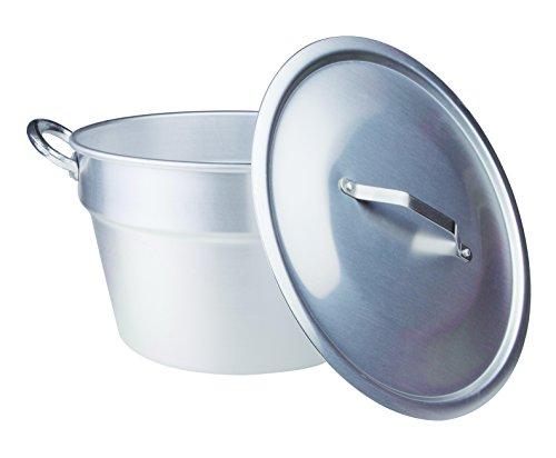 Pentole Agnelli, FAMA85C50, Pentola Pomodoro in Alluminio con 2 Maniglie + Coperchio pesante, Tipo Sud (Caldaia), Diametro 50 cm, 66,7 litri, Argento