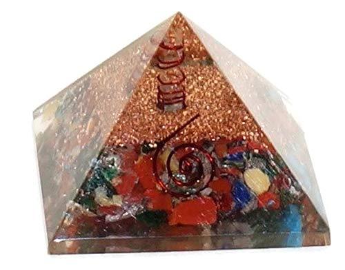 Healing Crystals India - Pirámide grande de orgonita con cristales curativos de 50 mm, para curación y protección contra campos electromagnéticos, genera orgone (energía positiva), protección, mantenimiento y equilibrio del aura, chakras