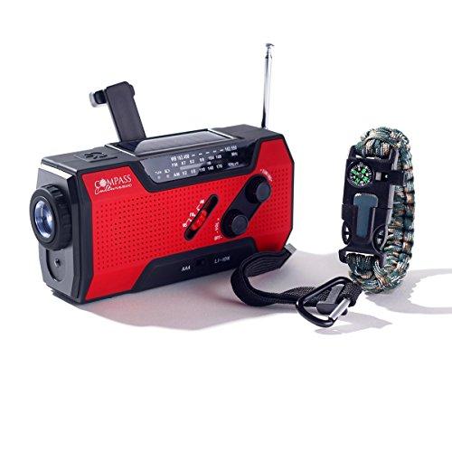 Solar + Hand Crank AM FM Radio Emergency...