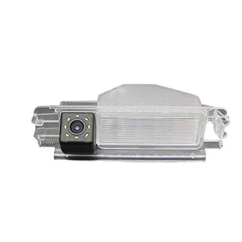 Dynavsal Colore telecamera di retrovisione con linee di griglia come luce targa, sensore di parcheggio Nero per Dacia Duster Sandero Stepway II 2 (Modell 3 mit LED)