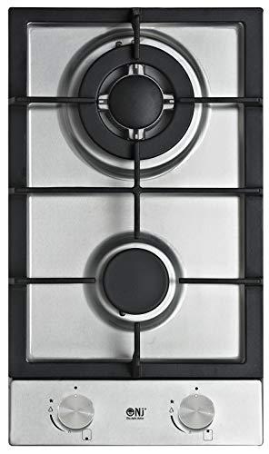 NJ Domino-302S Incasso Gas Acciaio Inossidabile Piano Cottura 2 Fuochi da 30cm
