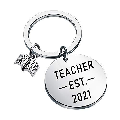 New Teacher Gifts Teacher Est 2021 Keychain future teacher...