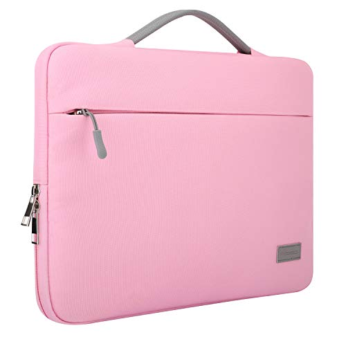 MoKo 13-13.3 Inch Laptop Sleeve Case Compatible with MacBook Air 13-inch Retina, MacBook Pro 13', HP Dell Asus Acer Lenove Notebook Computer, Polyester Protective Carrying Bag with Pocket, Pink