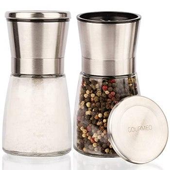 Ensemble de 2 moulins à épices GOURMEO avec moulin céramique réglable - Moulin à sel et à poivre noble et acier inoxydable de haute qualité - adapté à diverses épices