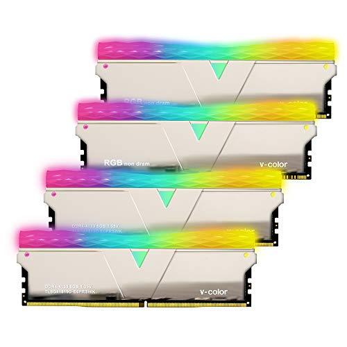 【4枚セット】v-color Hynix IC デスクトップPC用 ゲーミングメモリ 2+2 RGB (発光型) DDR4-4133MHz PC4-33...