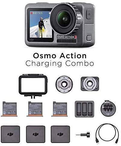 DJI Osmo Action Charging Combo, Camera Digitale con Kit Accessori Incluso, Doppio Display, Fino a 11 m, Resistente all'Acqua, Stabilizzazione Integrata, Foto e Video in 4K HDR a 100 Mbps, Nero