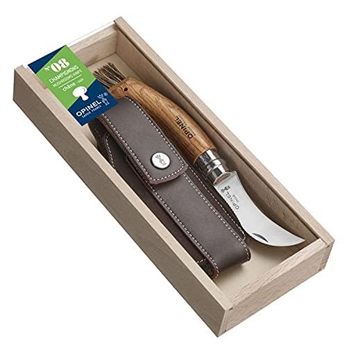 OPINEL - N°08 Champignon Manche Chêne & Étui Outdoor Brun - Couteau OPINEL Brosse Poil de Sanglier - Couteau Champignons en Acier Manche Bois -...