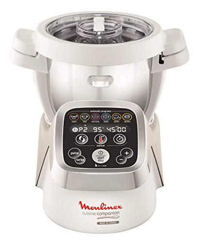 Moulinex HF802AA1 Cuisine Companion Robot da Cucina Multifunzione con 6 Programmi Automatici, Bianco/Argento