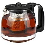 com-four® Teekanne, Glaskanne aus hitzebeständigem Glas mit Edelstahl-Einsatz (01 Stück - Teebereiter 1.1 Liter)