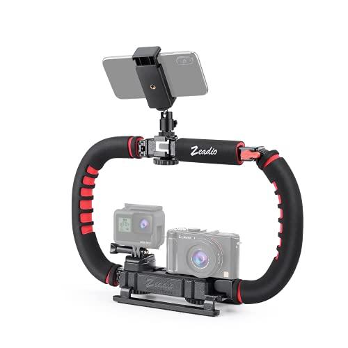 Zeadio Stabilizzatore per smartphone fotocamera, Impugnatura pieghevole, Video Rig per tutti GoPro, fotocamera, videocamera, DSLR, telefo ecc