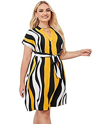 Material: 100% Polyester, Fabric has non stretch Stirped print, notched neck, short sleeve, tunic belted dress Occasion: Good choose for work, leisure time, going out and daily wear Machine or hand wash in cold gentle/Line dry/Do not bleach Please re...