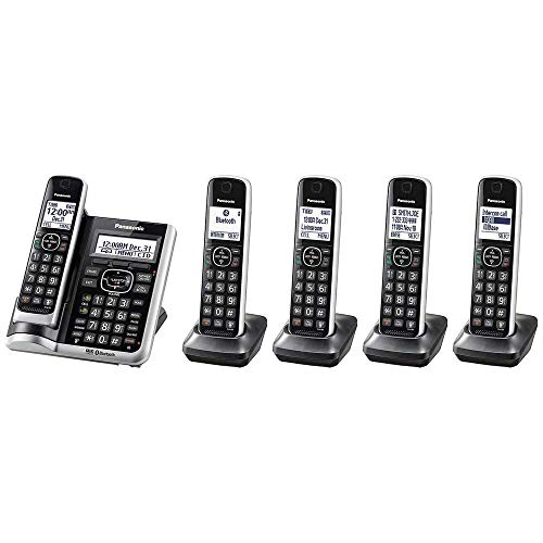 Panasonic KX-TG885SK DECT 6.0 Link2Cell Bluetooth Enabled with Talking Caller ID Answering System Intercom Call Block 5 Handset Cordless Phone (Renewed)