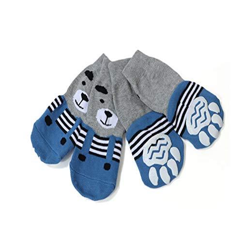 meioro Calzini per Cani Anti Scivolo Traction Control Cotton Protezioni per Zampe Traspiranti per Abbigliamento da Interno Set di 4 Cani di Taglia Grande e Media (3XL, Blu)