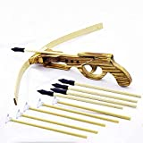 SUNNYHILL Wood Toy Crossbow Safe and Harmless with 5 Suction Cup Arrows and 5 Rubber Head Arrows for Outdoor Play