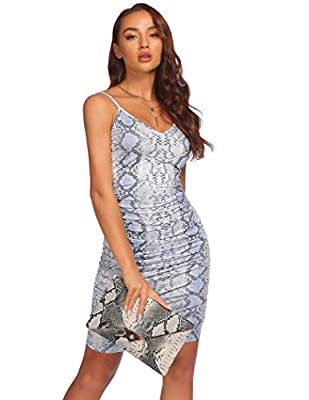 【Material】 95% polyester, 5% spandex.Soft, lightweight, skin-touch, and high-stretch material, it is comfortable to wear 【Feature】V neck, a pleated design, adjustable spaghetti strap, ruched on both sides, solid color, animal print, slim-fit ruched M...