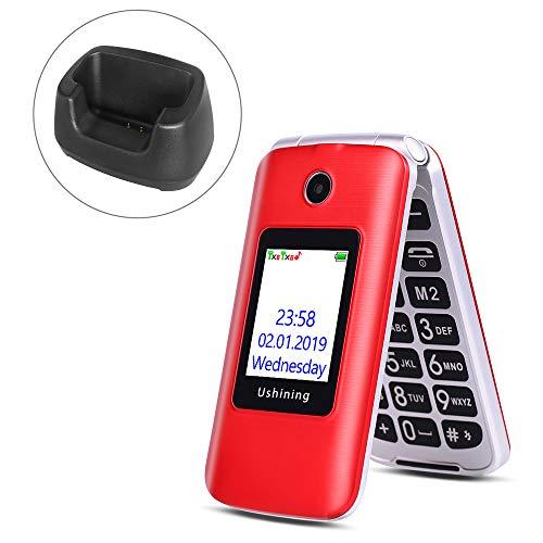 Ushining 3G Unlocked Senior Flip Phone Dual SIM Card FM Radio GSM Unlocked Flip Phone 2.8' LCD and Large Keypad with Charging Cradle (Red)
