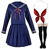 Japanese Sailor School Uniform Costume Anime Cosplay Navy Dress Lolita Suit with Socks Set Long Sleeves(L = Asia XL)