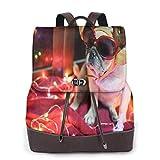 Yuanmeiju Womens Fashion Backpack The DJ Pug Dog Playing Turntable Shoulder Bookbag Leather Travel Bag Girls