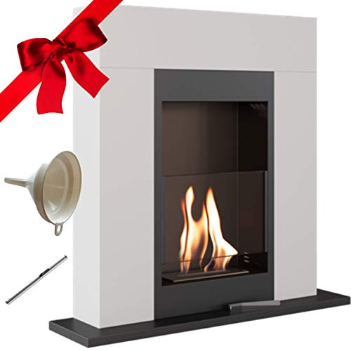 Whiskey 1 Bio Ethanol Fireplace, Freestanding, Indoor, White, TÜV Certified, Gift Pack with Funnel and Lighter