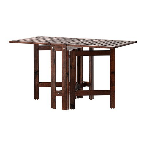 Ikea Applaro Drop-leaf Folding Wood Table Brown Seats 2 - 4