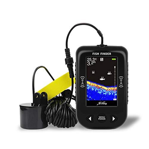 CARACHOME Ecoscandaglio da Pesca, ecoscandaglio a LED da 0,6-100 M Fishfinder con Esche da Pesca Sensore ecoscandaglio di rilevamento dei Pesci per Lago, Fiume, Mare, Pesca sul Ghiaccio