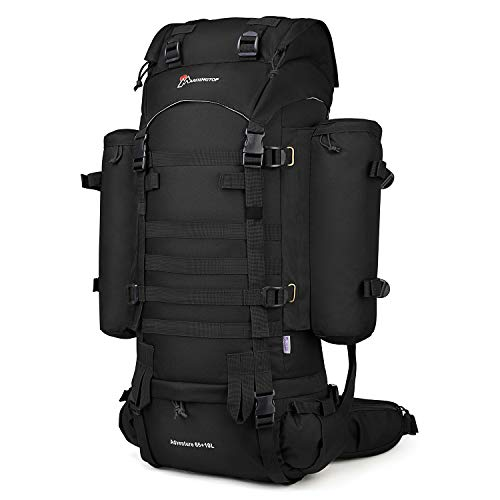 Mardingtop 65+10L Molle Hiking Internal Frame Backpacks with Rain Cover Black-65+10L