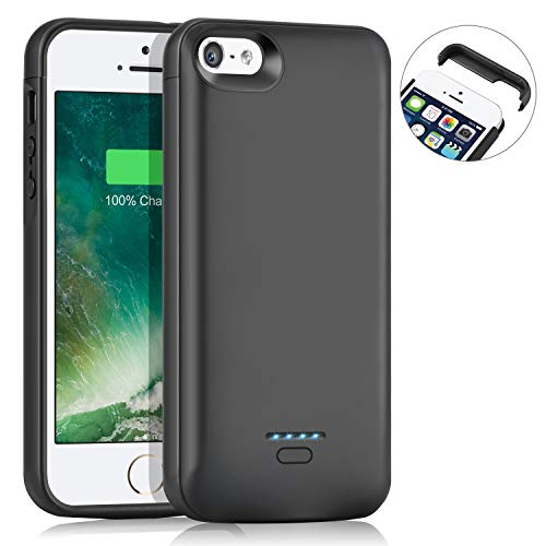 AEDLYK Battery Case for iPhone 5 5S SE 4000mAh Slim Charger Case Rechargeable Portable Case Extended Battery Charging Case Protective Backup Power Case Black