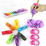 鉛筆もちかた Firesara 鉛筆持ち方 ペングリップ 矯正 シリコン 鉛筆ホルダー 虹色 鉛筆キャップ はじめてセット 疲労減軽 12個セット