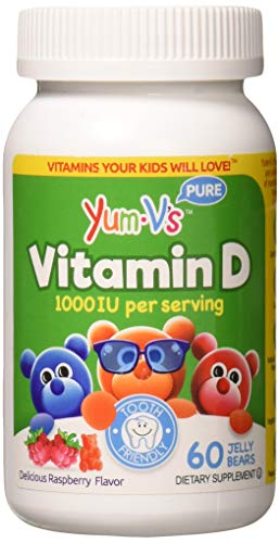 YUM-V's Vitamin D (1000 IU) Chewable Jellies (Gummies) for Kids, Yummy Berry Flavor (60 Ct); Daily Dietary Supplement with Essential Vitamins  Kosher, Halal, Gluten Free Childrens Vitamins