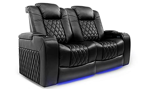 Valencia Tuscany Home Theater Seating   Premium Top Grain Italian Nappa 11000 Leather, Power Reclining, Power Lumbar Support, Power Headrest (Row of 2 Loveseat, Black)