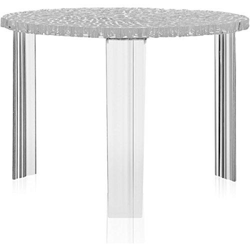 Kartell T-Table Tavolino, PMMA Trasparente o colorato in Massa, Cristallo, 50 x 50 x 36 cm