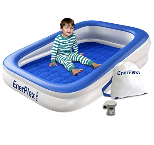 EnerPlex Kids Inflatable Toddler Travel Bed with High Speed Pump, Portable Air Mattress for Kids, Blow up Mattress with Sides  Built-in Safety Bumper - Blue 2-Year Warranty