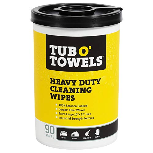 Tub O Towels TW90 Heavy-Duty 10' x 12' Size Multi-Surface Cleaning Wipes, 90 Count Per Canister