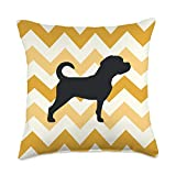 Puggle Gifts All co Puggle Dog Mom Dad Orange Wave Pet Gift Throw Pillow, 18x18, Multicolor
