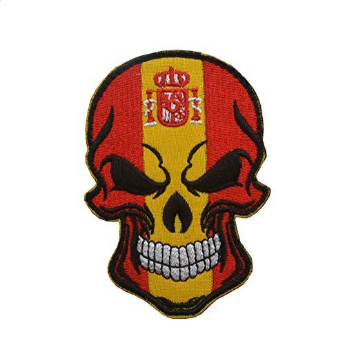 Parche bordado con diseño de calavera de España de Ohrong con bandera nacional de España, emblema de gancho y bucle para jeans, chaquetas, gorras, bolsos