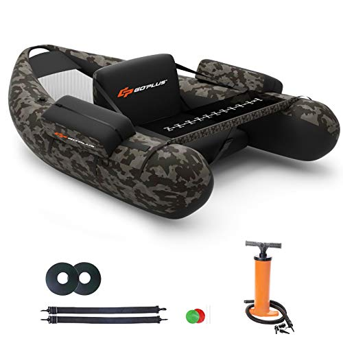 Goplus Inflatable Fishing Float Tube, with Storage Pockets, Fish Ruler, Adjustable Straps, 350LBS...
