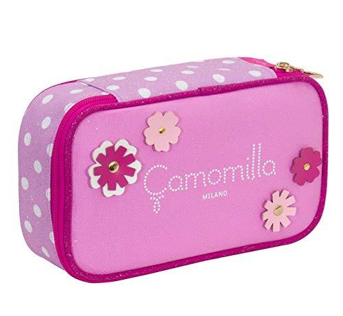 Quick Case Camomilla, Rosa, Con materiale scolastico per la scuola: penne, matite, pennarelli