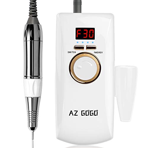 AZ GOGO Rechargeable Portable Nail Drill Machine, 30000rpm Professional Electric Efile Nail Drills for Acrylic Nails, Manicure/Pedicure, Gel Nails, Cuticle - Salon Use or Home DIY