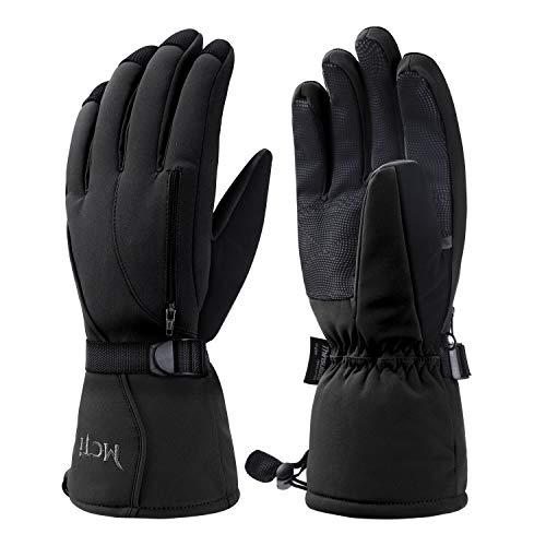 Kineed Skihandschuhe Herren Wasserdicht Winterhandschuhe Warm 3M Thinsulate Snowboardhandschuhe Winter Schnee Handschuhe Thermo Winddicht Schwarz XL