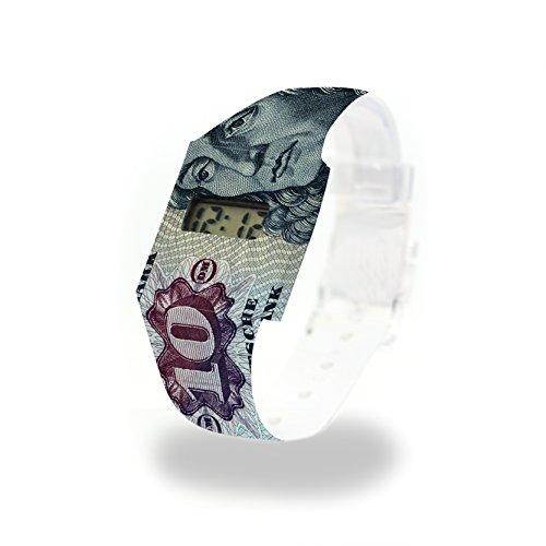 10 D-MARK - Pappwatch - Paperwatch - Digitale Armbanduhr im trendigen Design - aus absolut reissfestem und wasserabweisenden Tyvek® - Made in Germany , absolut reißfest und wasserabweisend