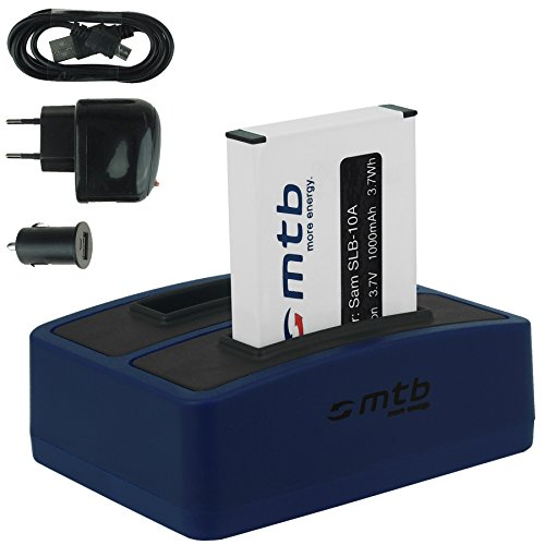 Batteria + Caricabatteria doppio (USB/Auto/Corrente) per Samsung SLB-10A / Toshiba Camileo X-Sports/JVC Adixxion/Silvercrest/Medion Action Cam. v. lista