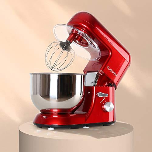 KLARSTEIN Klarsteinstein TK1 Bella Rossa - Robot da Cucina, Mixer, impastatrice, 1200 W, 1,6 PS, 5,2 L, Sistema serraggio rapido, Ganci a pressofusione, Braccio Multifunzionale, Rosso