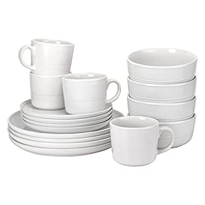 """Service for 4, this set includes (4) of each: 10.5"""" dinner plate, 8.25"""" salad plate, 6.25""""/24 oz cereal bowl, and 3.75""""/12 oz mug. Subtle grooved detailing Made of Microwave & Dishwasher Safe Stoneware Included components: 4 x dinner plates, 4 x sala..."""