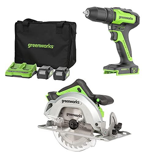 Trapano avvitatore a batteria 24V Greenworks Tools 35Nm e sega circolare a batteria 7-1/4' (con motore brushless, 2 batterie al litio da 2Ah, caricatore a doppio slot, borsa attrezzi)