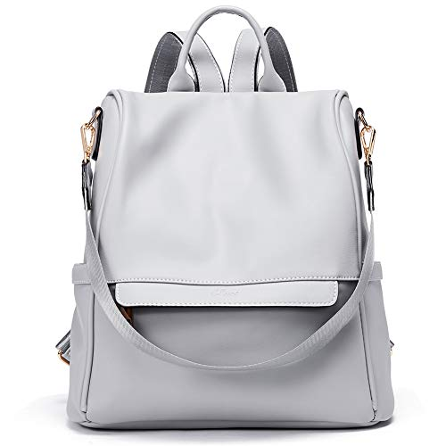 Womens Backpacks Purse Fashion Leather Anti-theft Large Travel Bag Ladies Shoulder Bags Gray