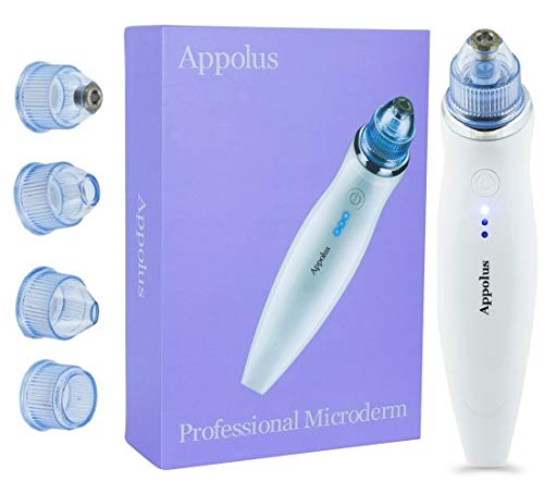Microdermabrasion Machine Wireless - Appolus Premium Diamond Microdermabrasion Kit for Flawless Lifted Skin -1 Standard Diamond & 3 Vacuum Heads