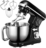 Stand Mixer, Aicok 5.5 Qt Dough Mixer with Double Dough Hooks, Whisk, Beater, Stainless Steel Bowl, 6 Speeds Tilt-Head Food Mixer, Kitchen Electric Mixer with Pouring Shield, Black