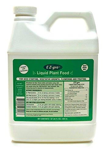 EZ-gro Liquid Plant Food for Aerogardens (1 QT) | Hydroponic Liquid Fertilizer for Smart Garden | Liquid Fertilizer is a Replacement for Aerogarden Liquid Plant Food | Source of Hydroponic Nutrients