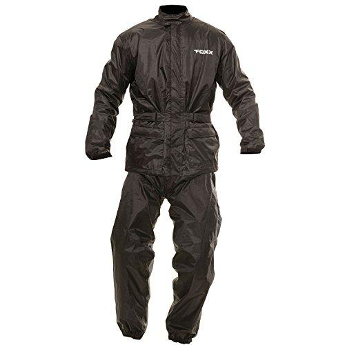 TOXX Motorrad Herren Damen Regenkombi Regenschutz Regenoverall Regenjacke und Regenhose 2Teiler schwarz (L)